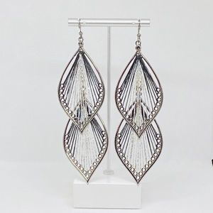 Black and Silver Threaded Statement Earrings